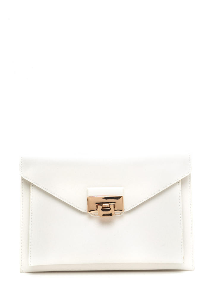 Double Dare Faux Leather Purse WHITE