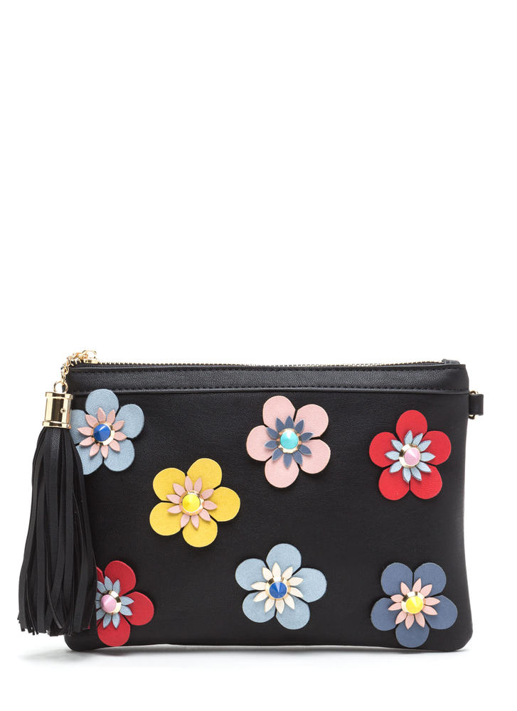Vintage Vibes Floral Faux Leather Clutch