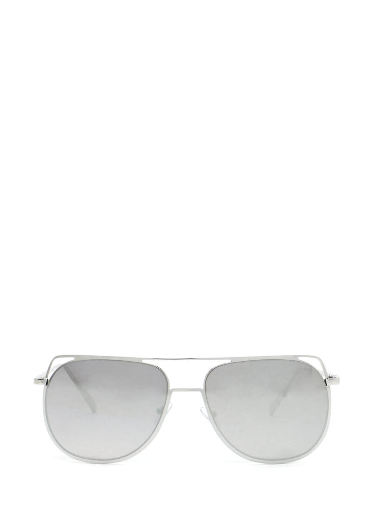Chic Views Cut-Out Brow Bar Sunglasses GREYSILVER