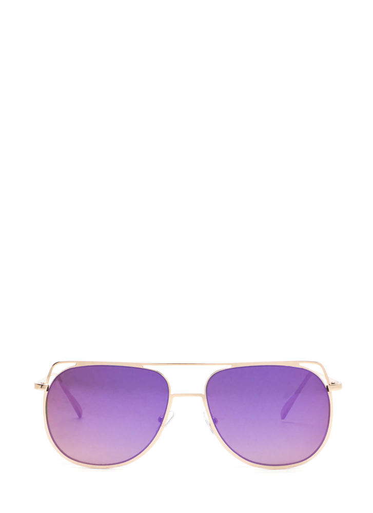 Chic Views Cut-Out Brow Bar Sunglasses PURPLEGOLD