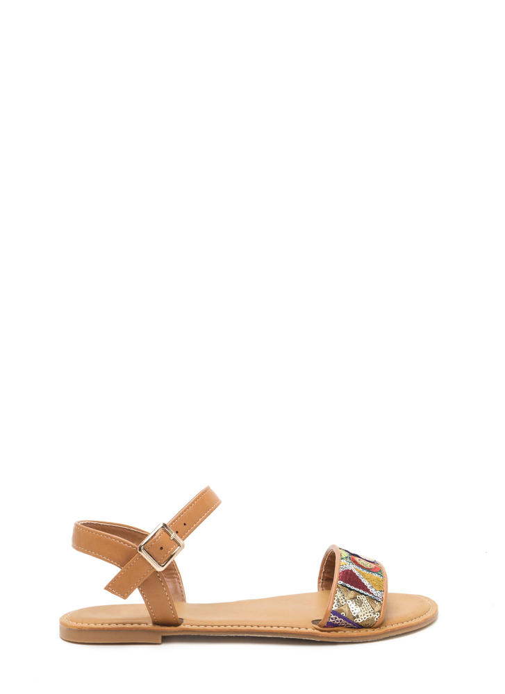 Bali Beach Embroidered Strappy Sandals TAN