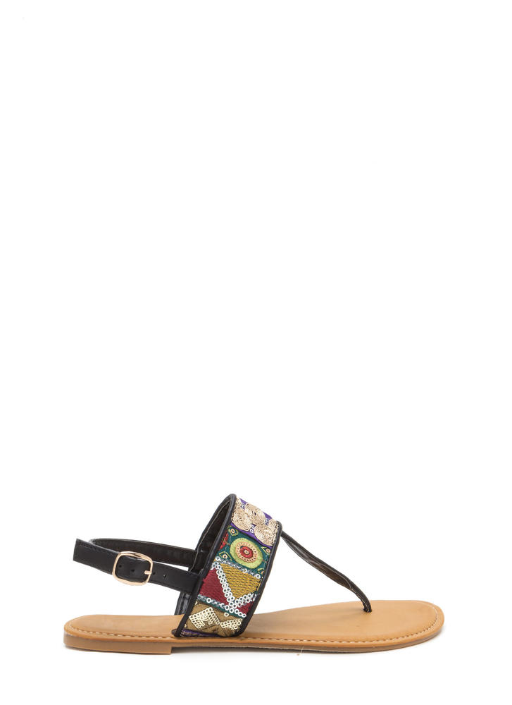 Bali Beach Embroidered T-Strap Sandals