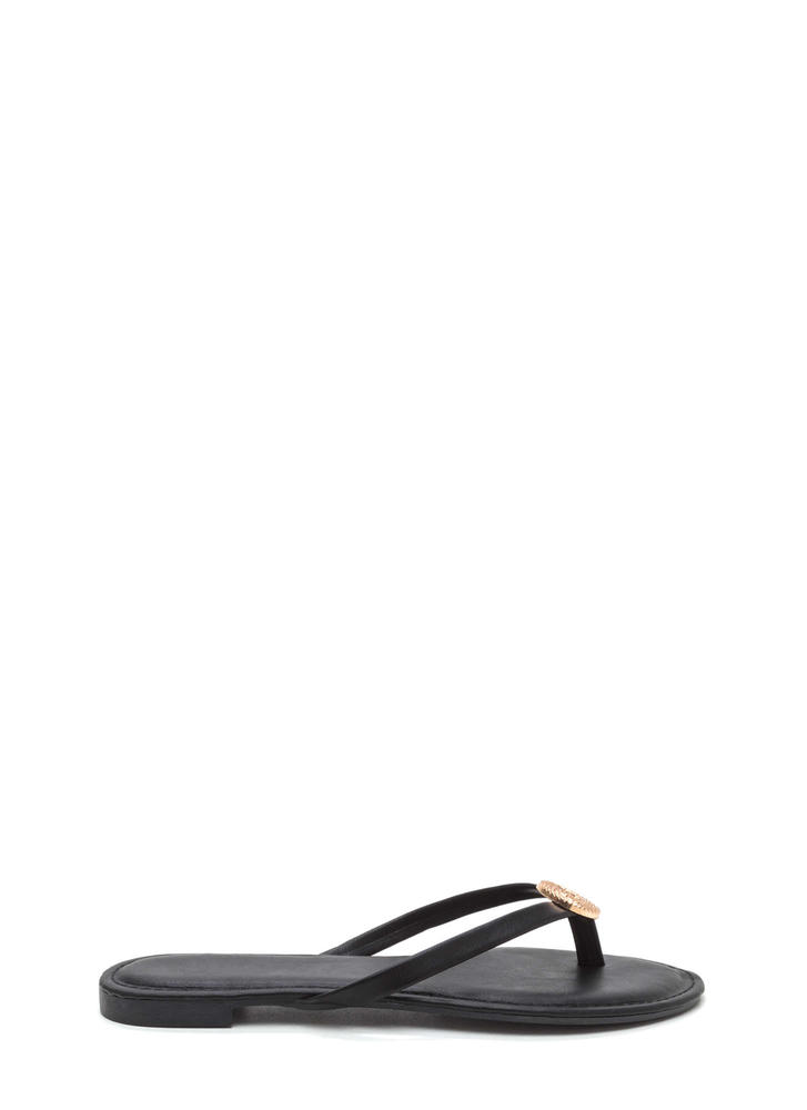 Outer Circle Faux Leather Thong Sandals BLACK