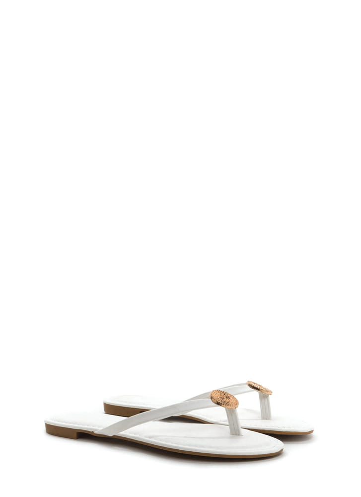 Outer Circle Faux Leather Thong Sandals WHITE