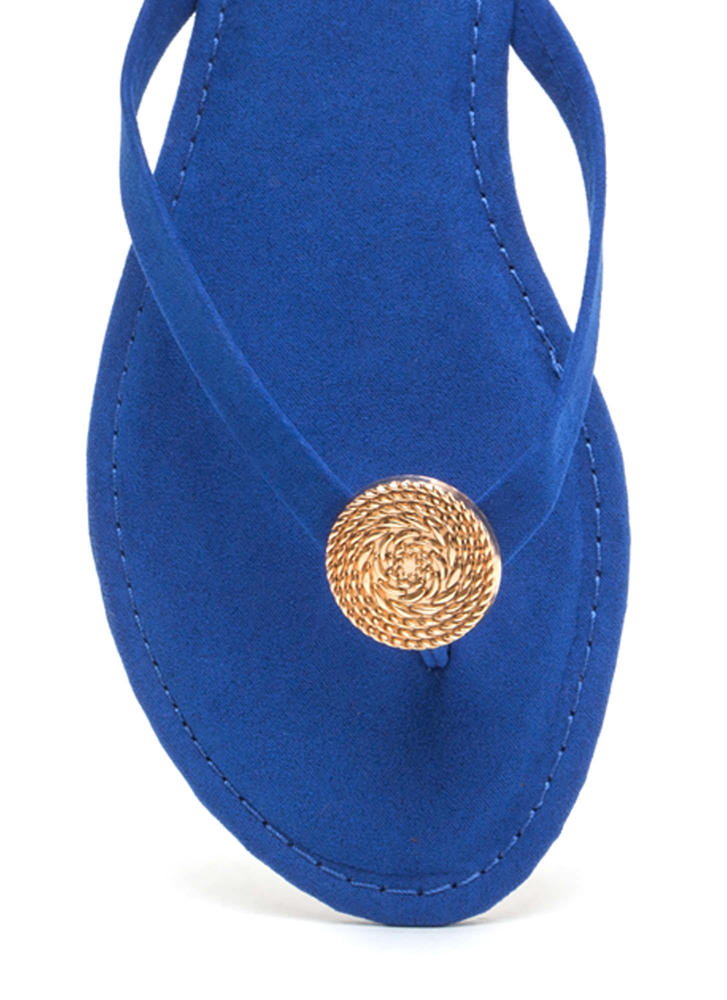 Outer Circle Faux Suede Thong Sandals BLUE