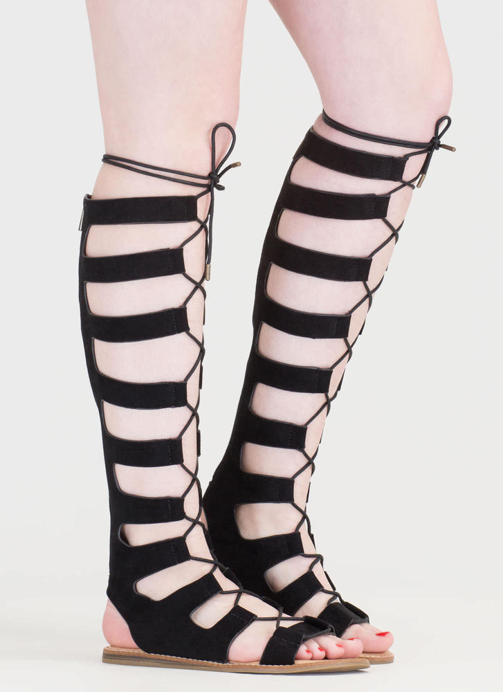 Fight Ready Lace-Up Gladiator Sandals BLACK