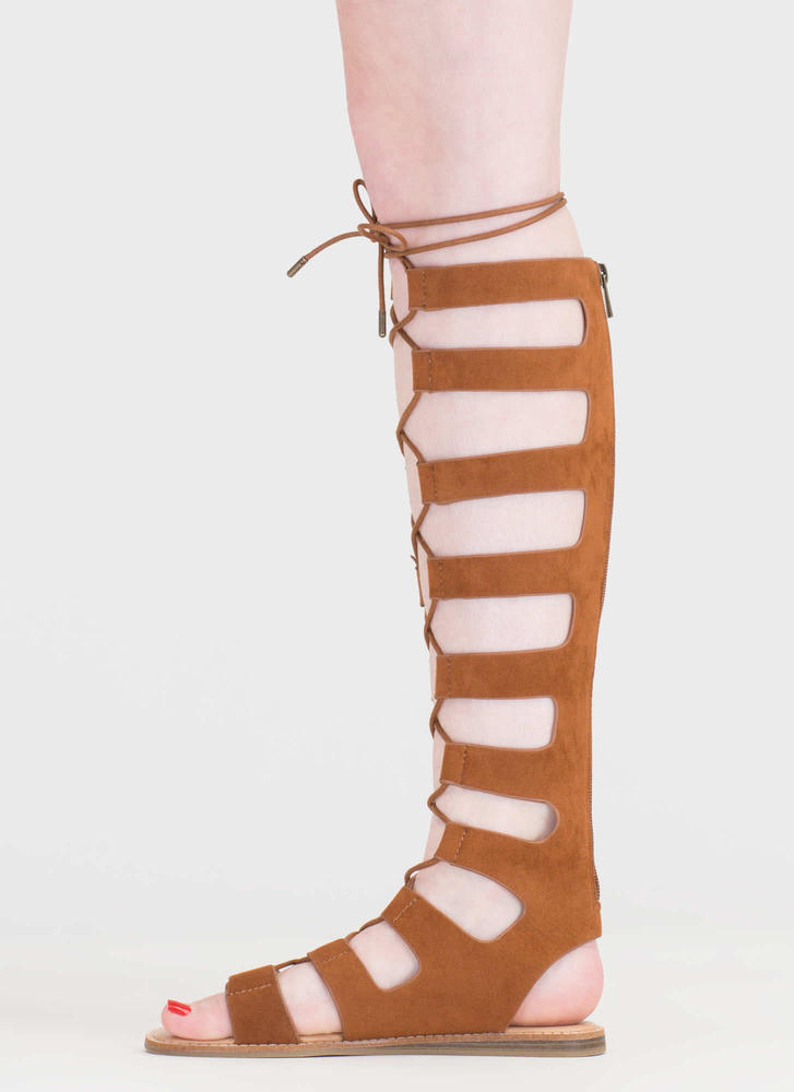 Fight Ready Lace-Up Gladiator Sandals CHESTNUT