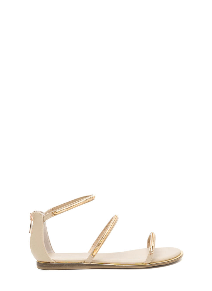 Line By Me Faux Leather Chain Sandals NUDE