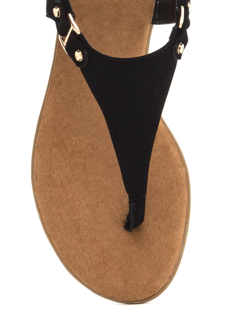 All Day Long Faux Nubuck Sandals BLACK