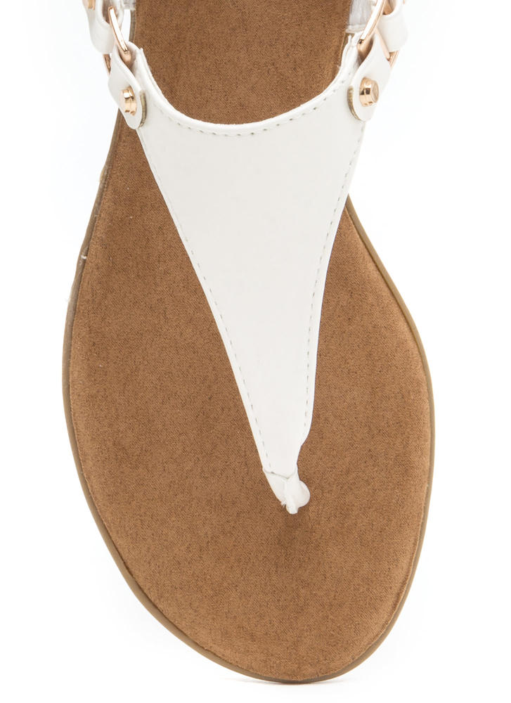 All Day Long Faux Leather Sandals WHITE