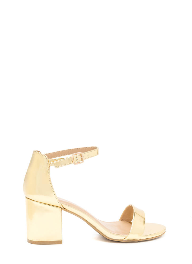 Blocked Off Chunky Faux Patent Heels
