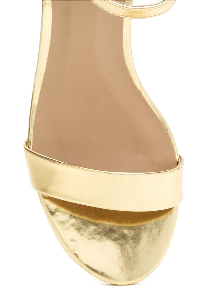 Blocked Off Chunky Faux Patent Heels GOLD