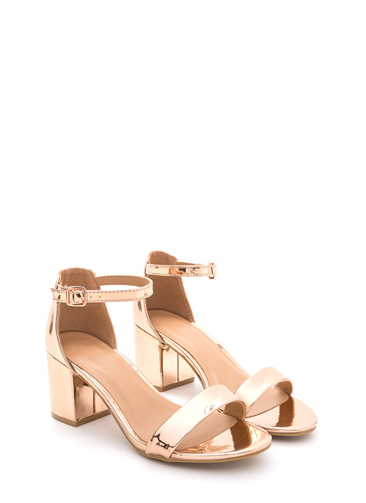 Blocked Off Chunky Faux Patent Heels ROSEGOLD