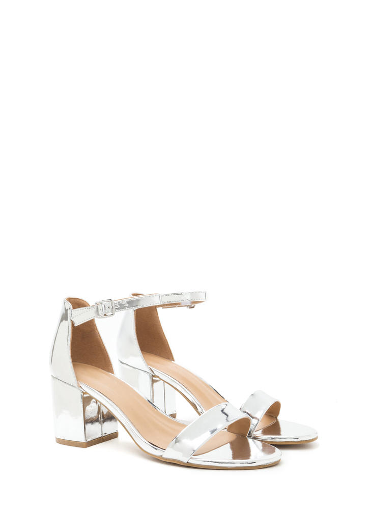 Blocked Off Chunky Faux Patent Heels SILVER