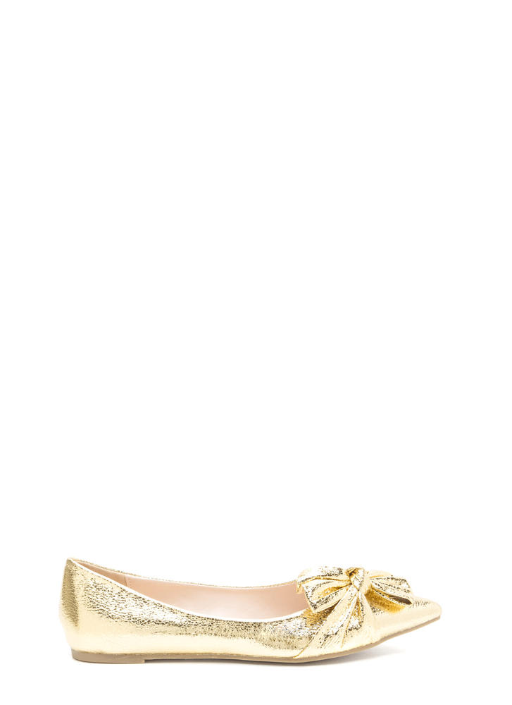Bow So Chic Pointy Metallic Flats
