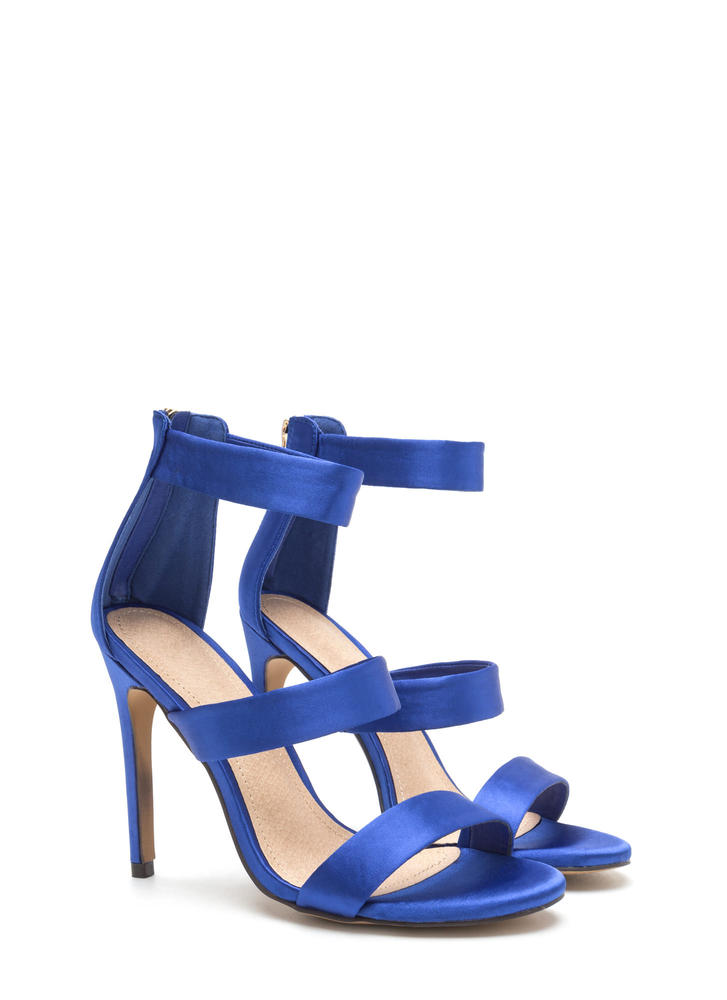 Straight To The Top Strappy Satin Heels BLUE