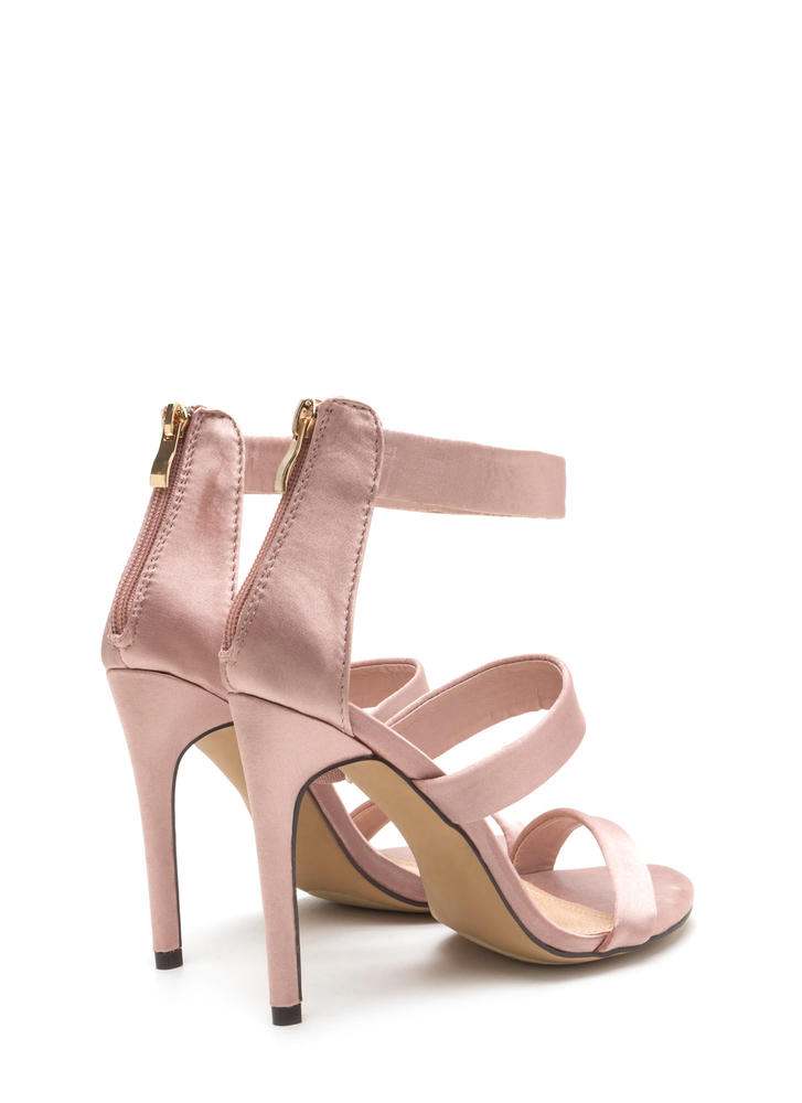 Straight To The Top Strappy Satin Heels CHAMPAGNE