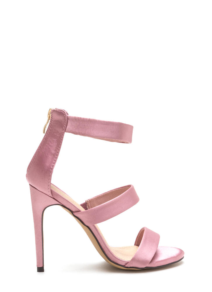 Straight To The Top Strappy Satin Heels DUSTYPINK