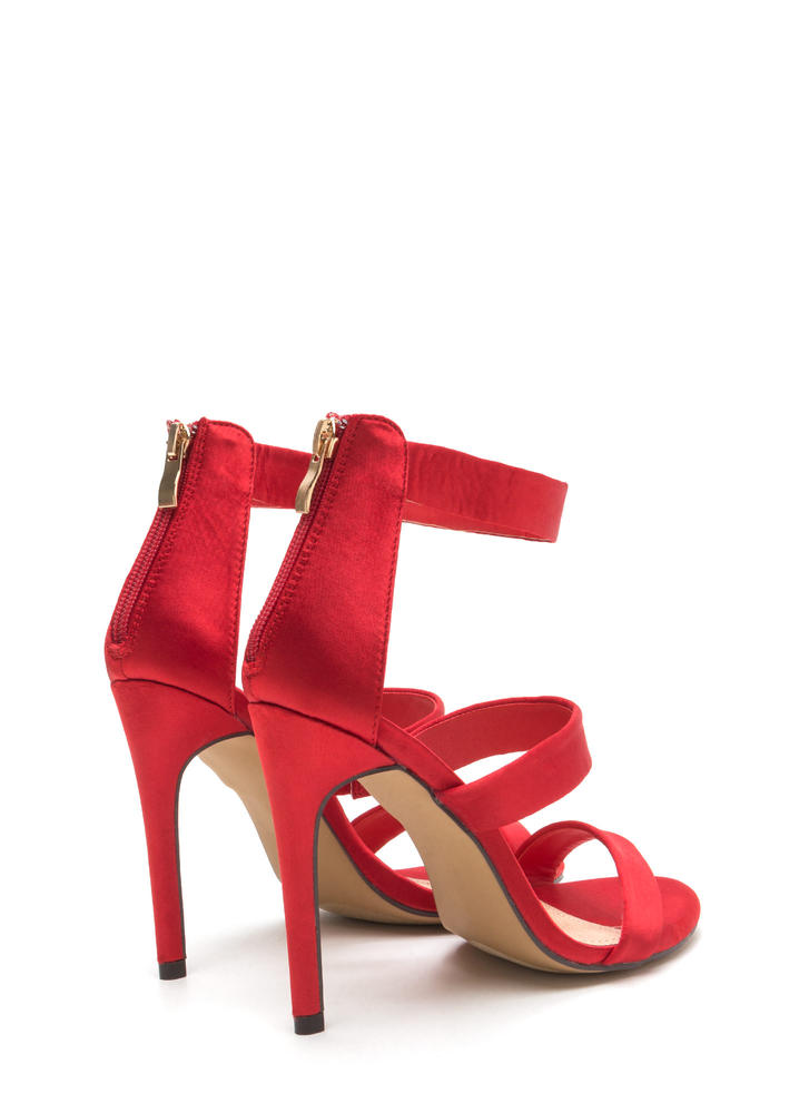 Straight To The Top Strappy Satin Heels RED