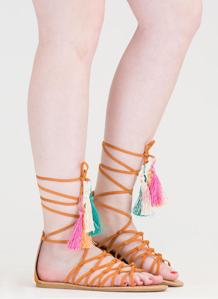 Boho Princess Tasseled Gladiator Sandals CAMEL