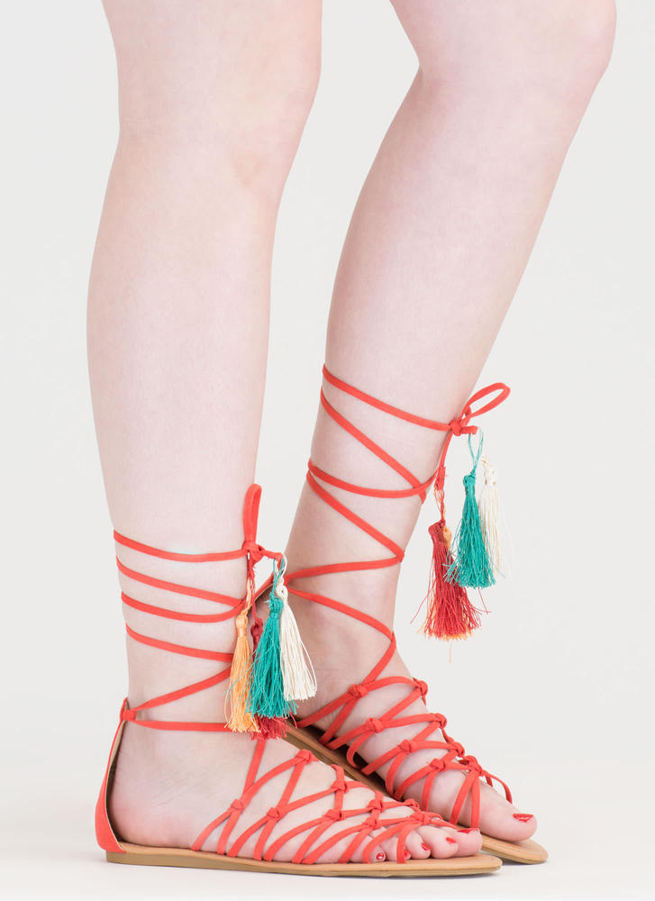Boho Princess Tasseled Gladiator Sandals CORAL (Final Sale)