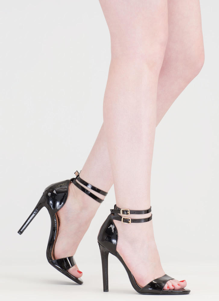 Double The Fun Strappy Faux Patent Heels BLACK