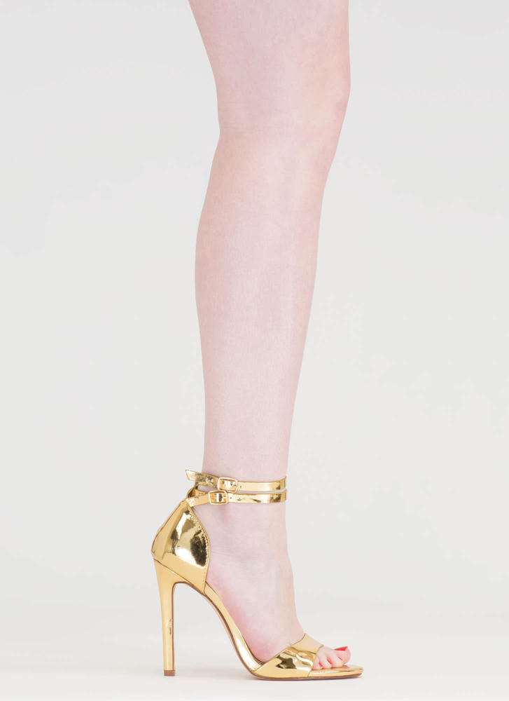 Double The Fun Strappy Metallic Heels GOLD