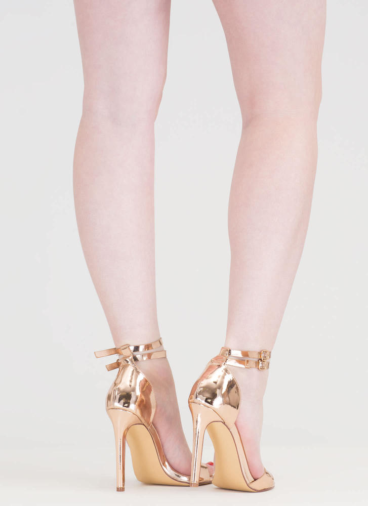 Double The Fun Strappy Metallic Heels ROSEGOLD