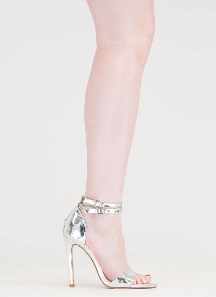 Double The Fun Strappy Metallic Heels SILVER