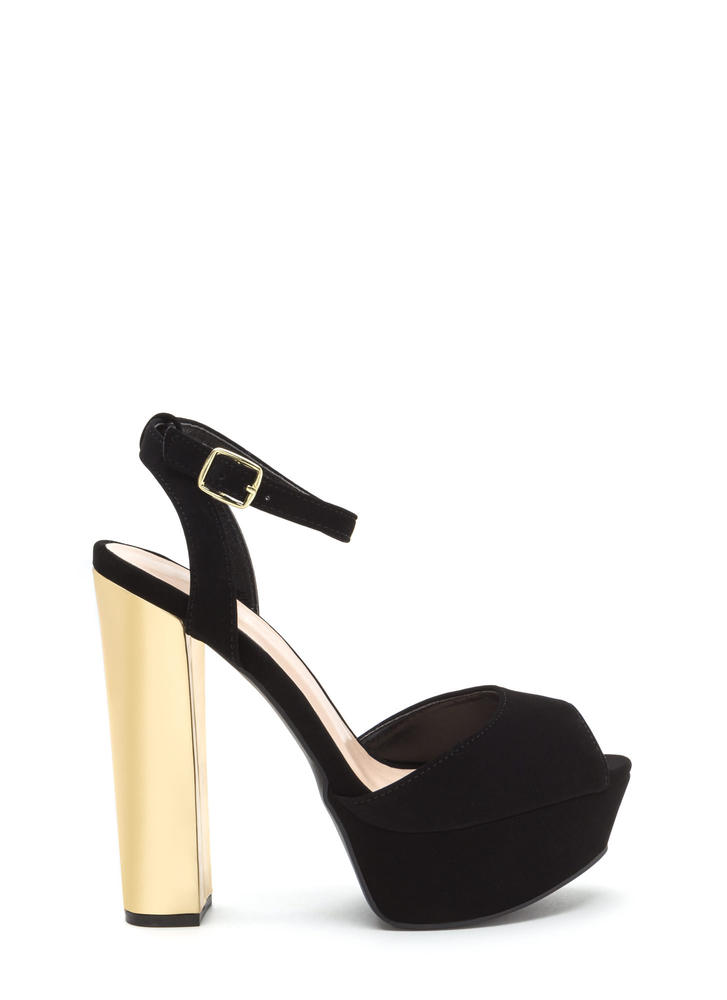 Heel You Chunky Shiny Platforms BLACK