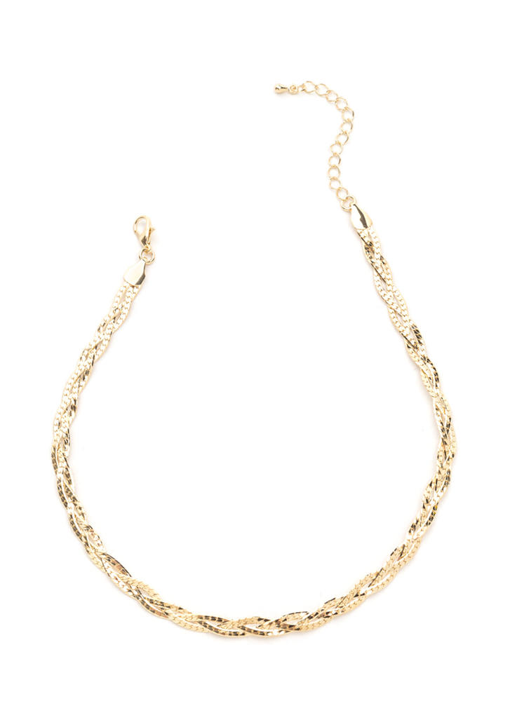 Come To Your Braid Chain Necklace GOLD (Final Sale)