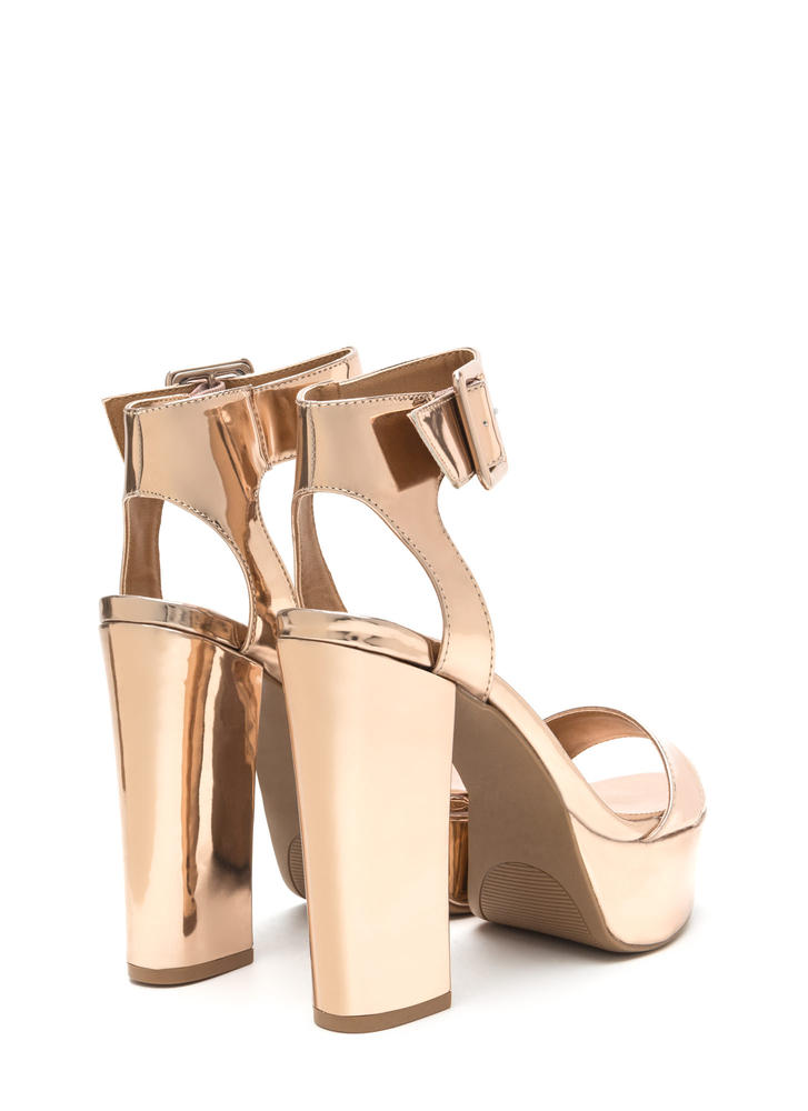 Step On It Chunky Faux Patent Platforms ROSEGOLD
