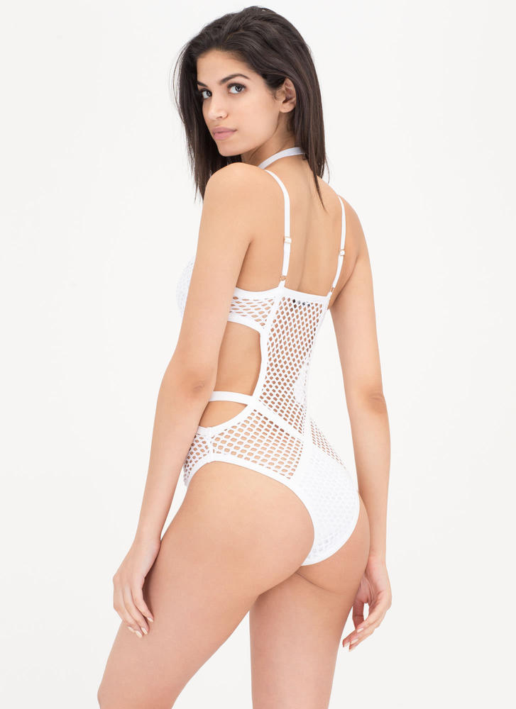 Such A Catch Choker One-Piece Swimsuit WHITE (Final Sale)