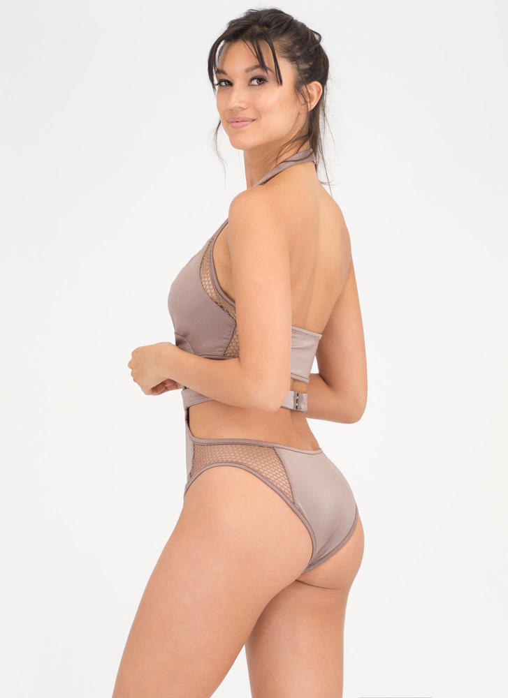 Caught You Looking Cut-Out Net Swimsuit GREY (Final Sale)