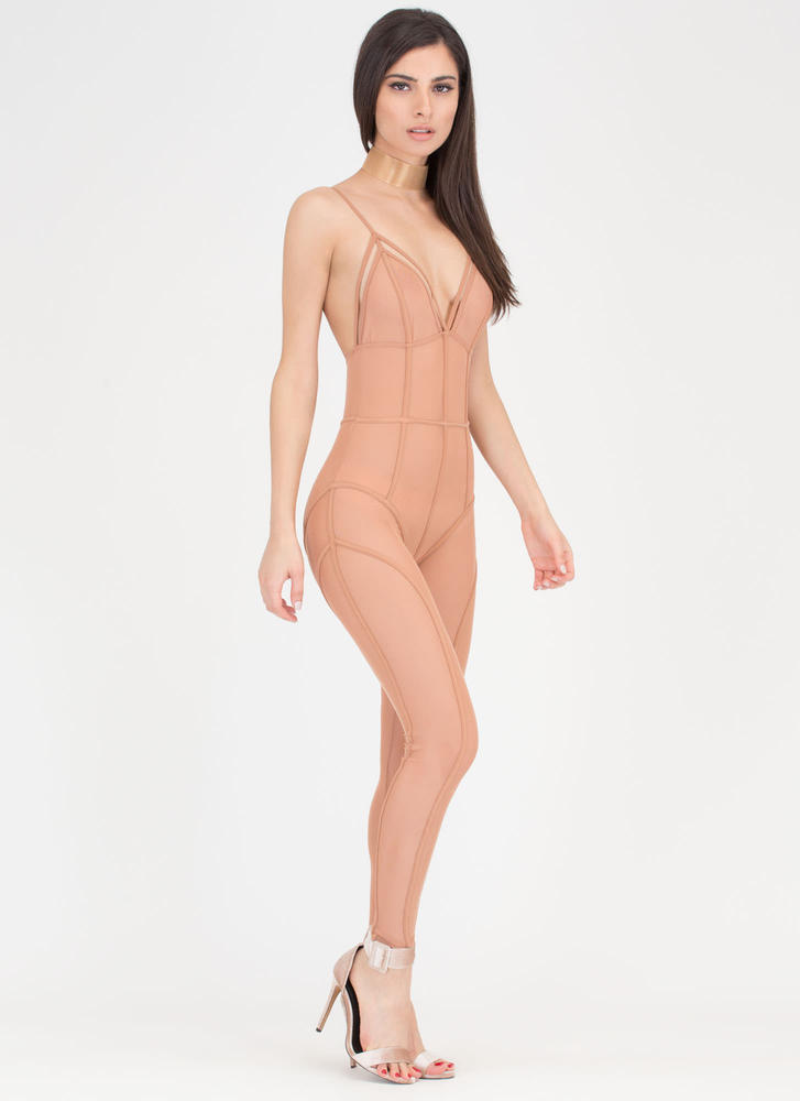 Sheer Leader Strappy Caged Jumpsuit SPICE
