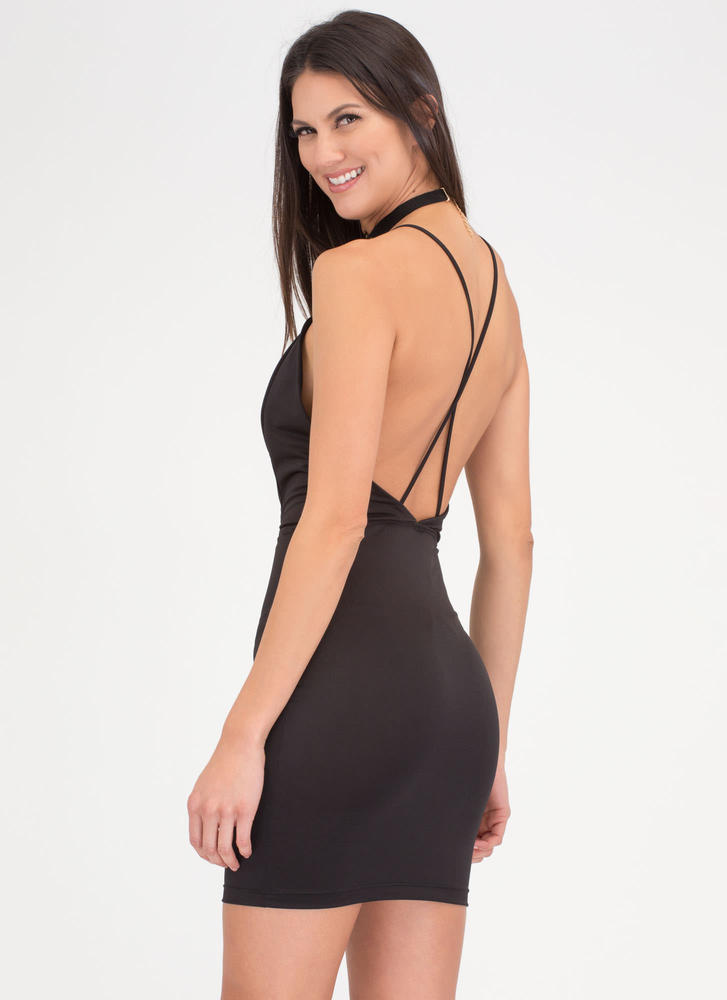 Ring Of Fire T-Strap Choker Dress BLACK