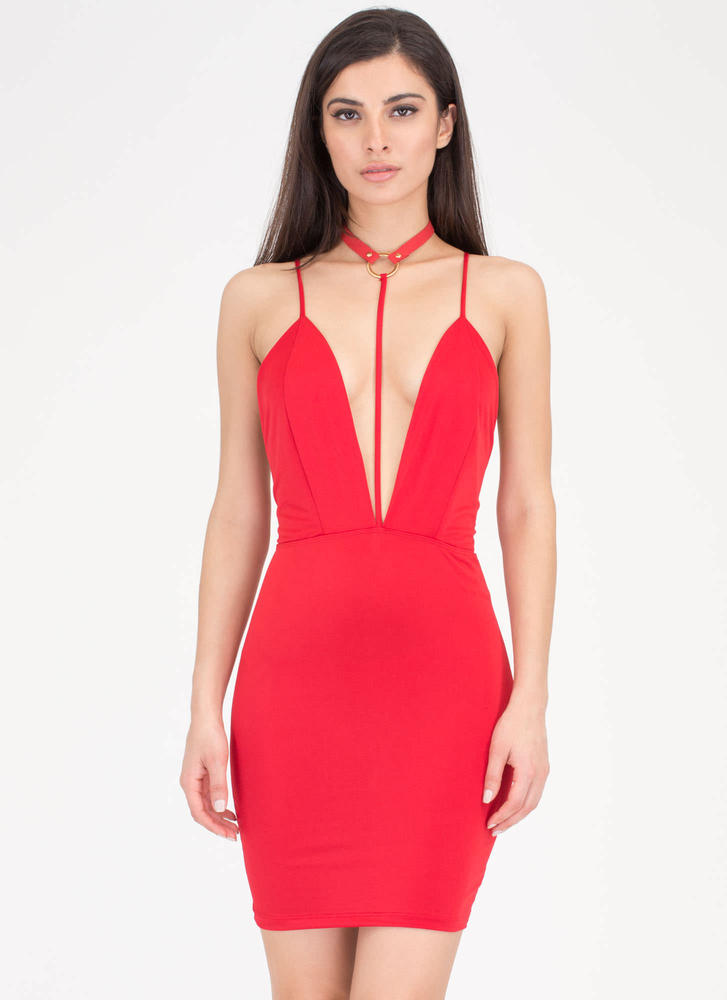 Ring Of Fire T-Strap Choker Dress RED