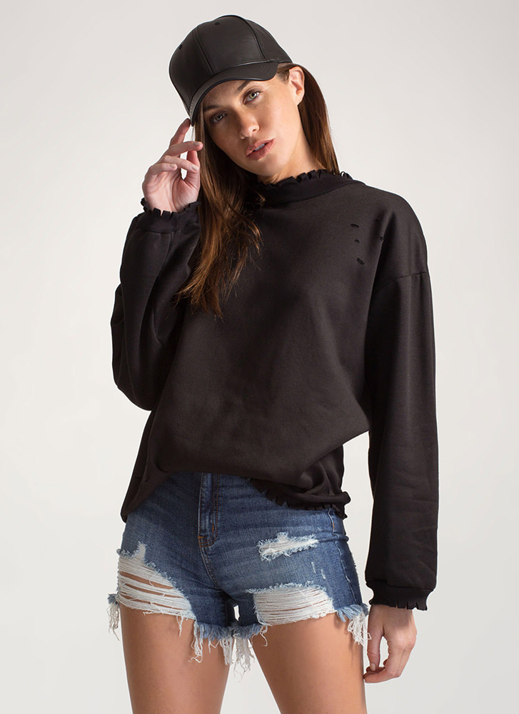 Fashion Crew Distressed Sweatshirt BLACK