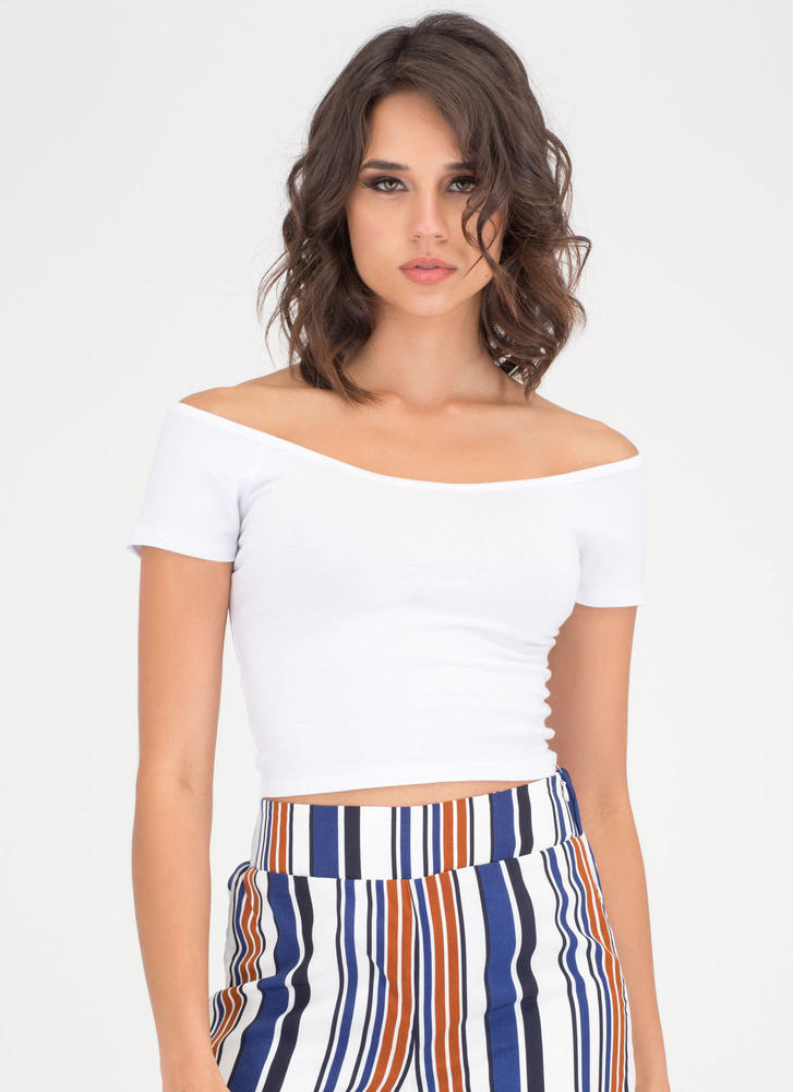 Short And Sweet Off-Shoulder Crop Top  WHITE