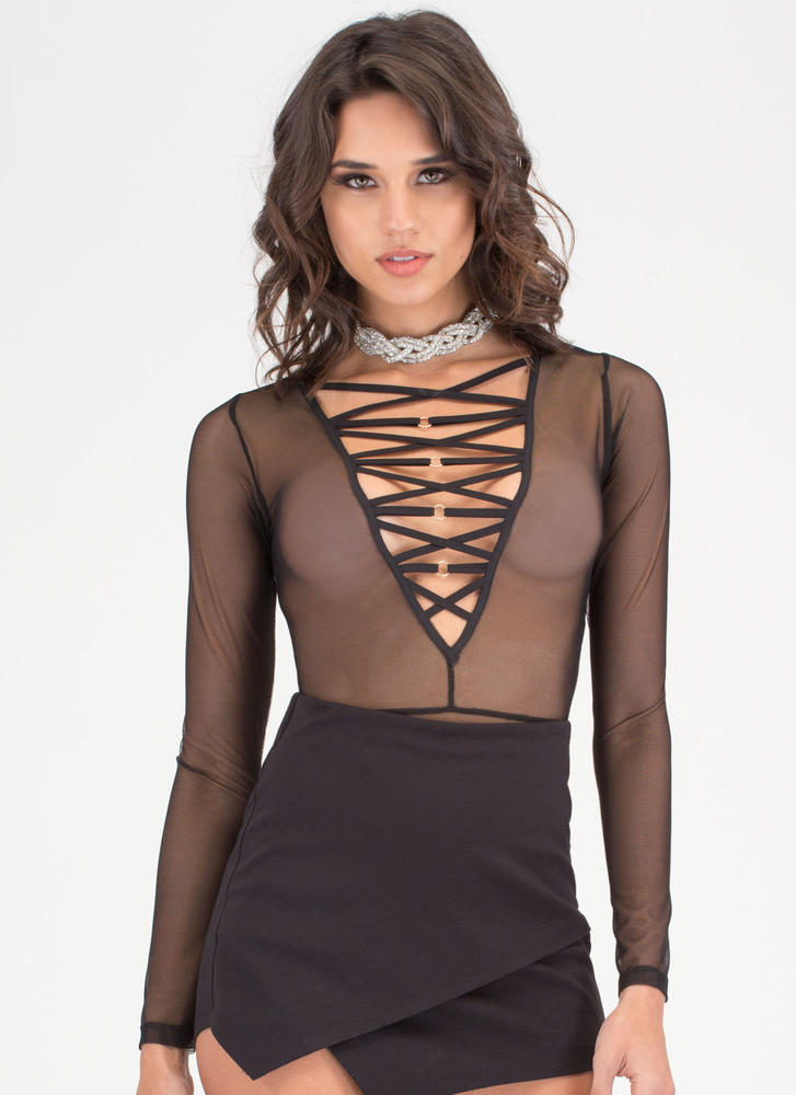 Ring Me Strappy Plunging Bodysuit BLACK