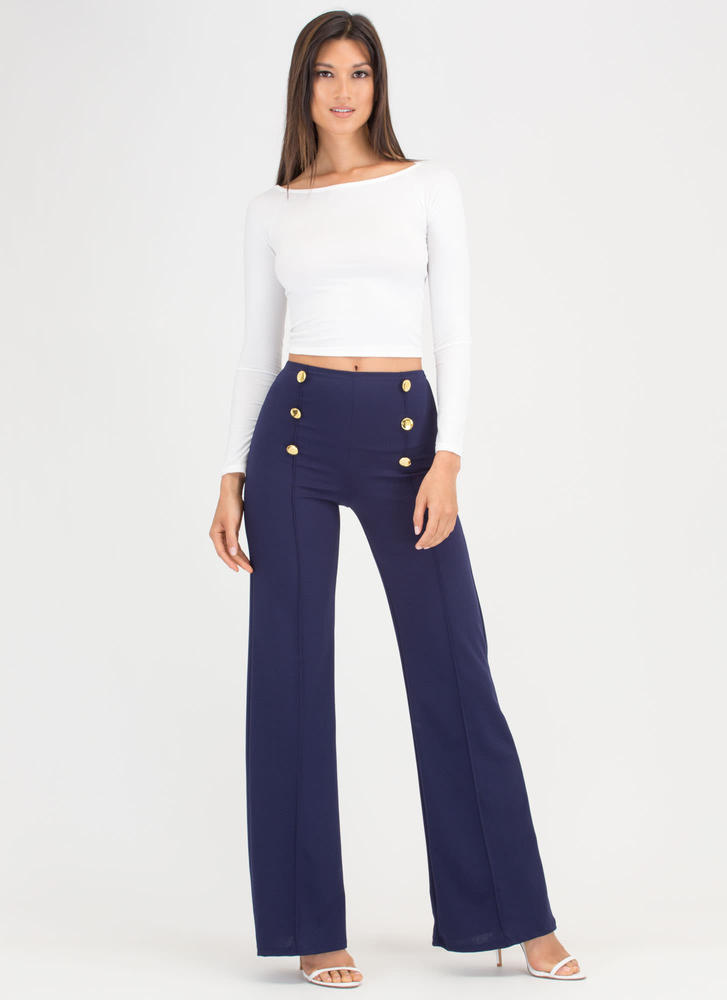 High Seas Buttoned Wide-Leg Pants