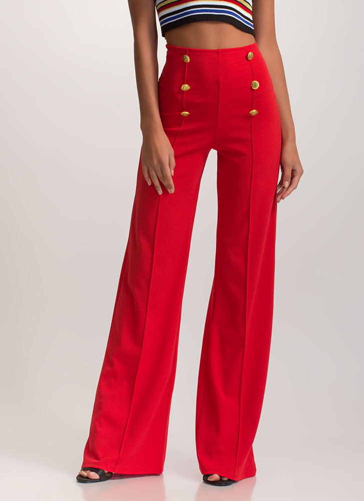 High Seas Buttoned Wide-Leg Pants RED