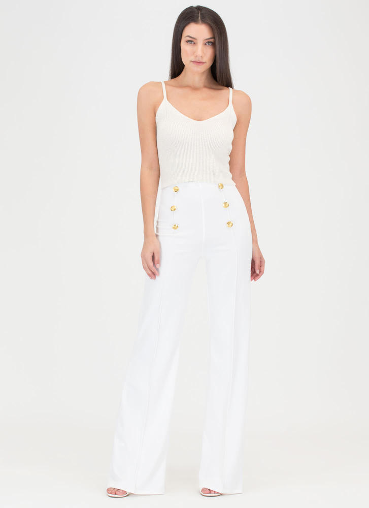 High Seas Buttoned Wide-Leg Pants WHITE