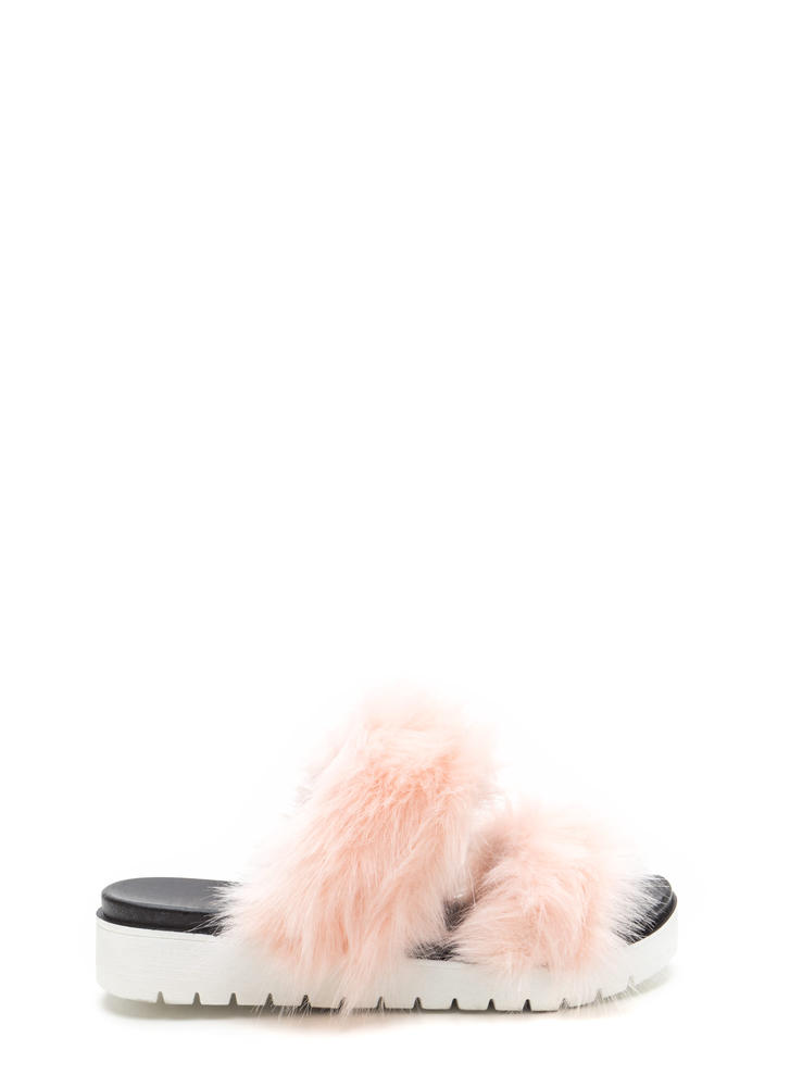 Street Style View Faux Fur Slide Sandals