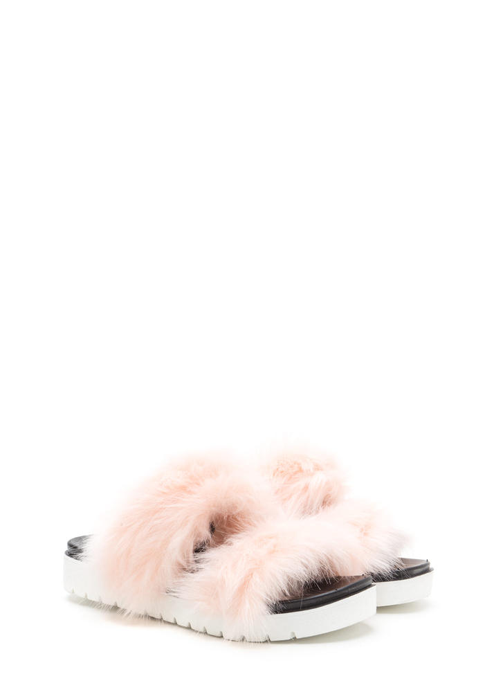 Street Style View Faux Fur Slide Sandals PINK