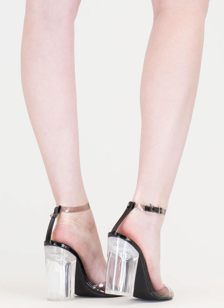 Walking On Air Clear Chunky Heels BLACK