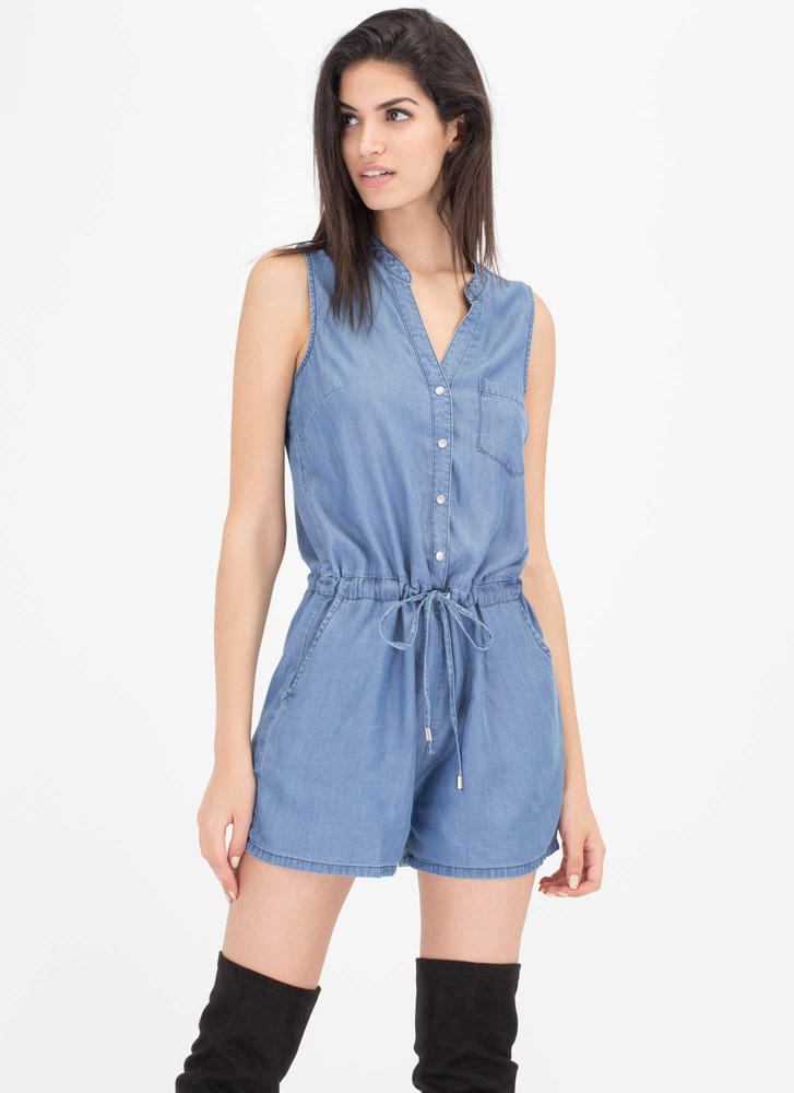 Lovely Look Cinched Chambray Romper