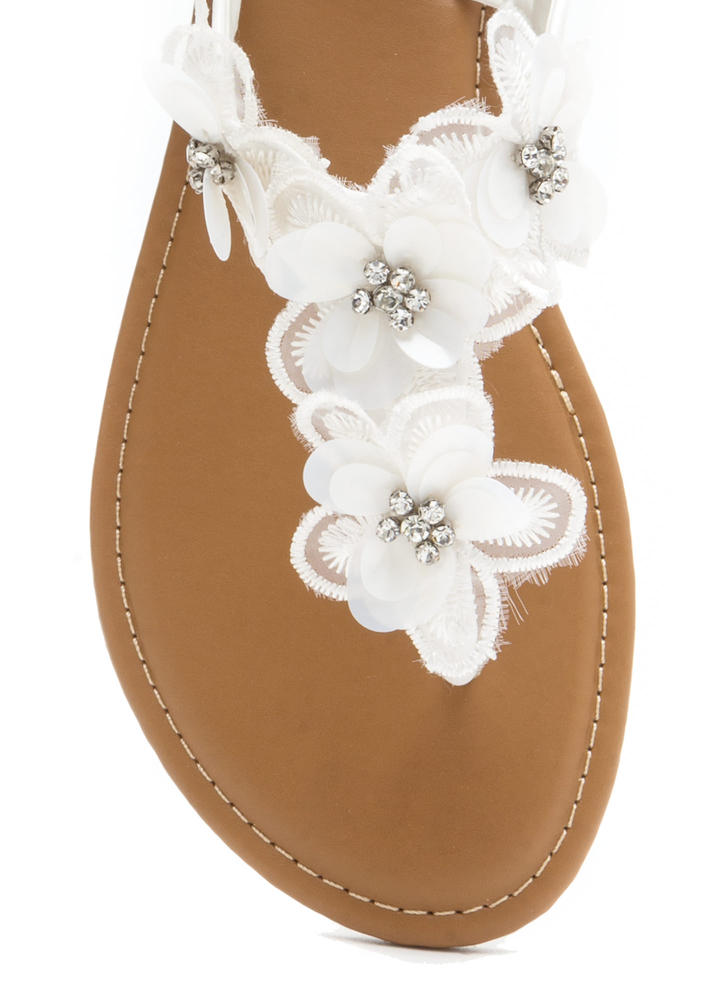 Pick Flowers Applique Thong Sandals WHITE