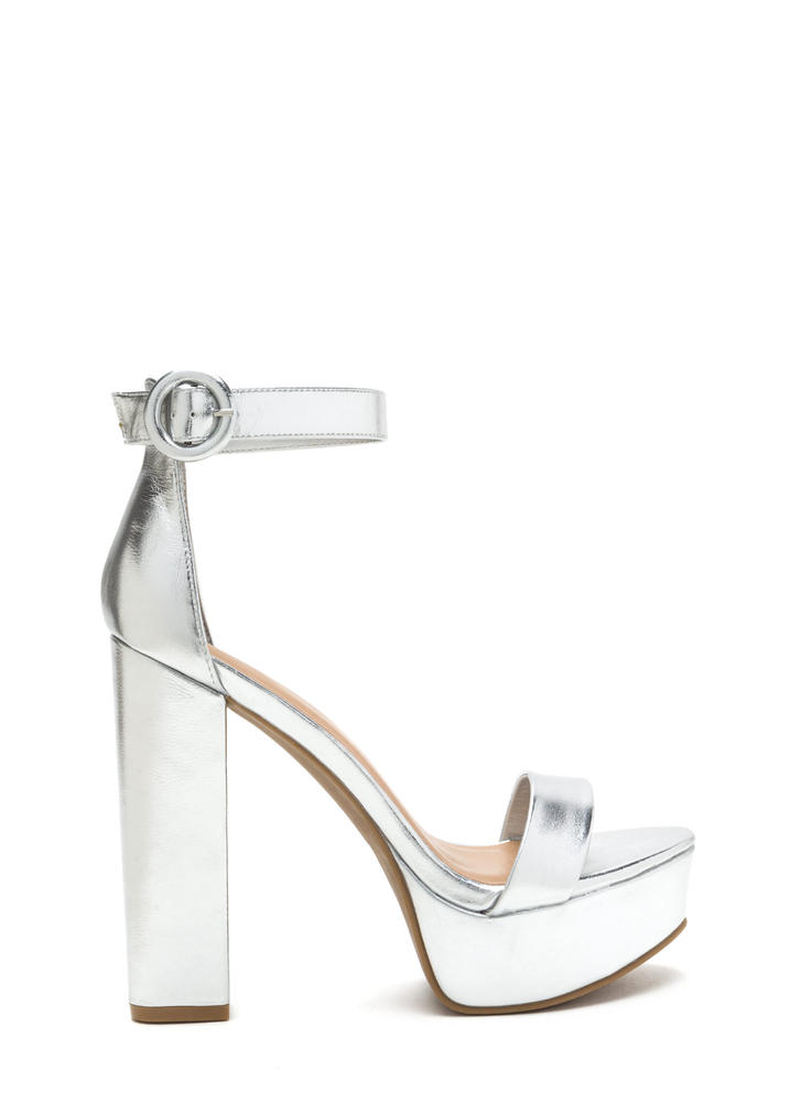 Tall-Star Chunky Metallic Platform Heels