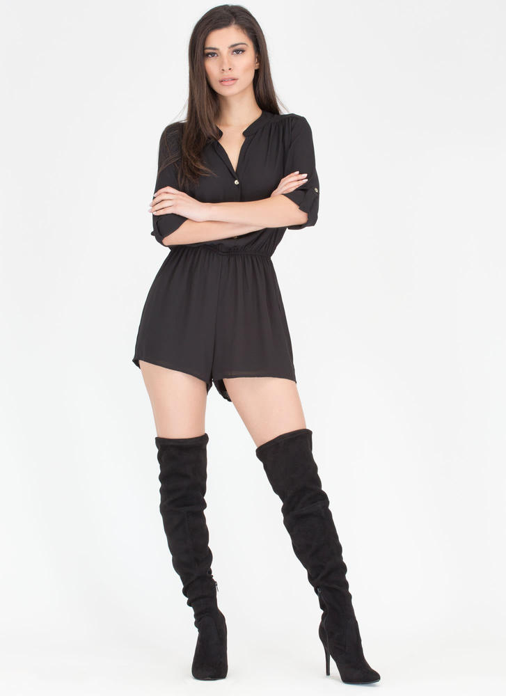 Skirt The Issue Button-Up Romper BLACK